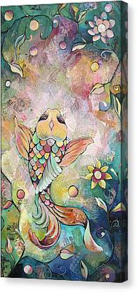 Joyful Koi I Canvas Print by Shadia Derbyshire