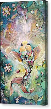 Joyful Koi II Canvas Print by Shadia Derbyshire