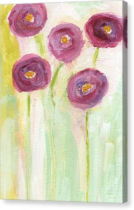Joyful Poppies- Abstract Floral Art Canvas Print by Linda Woods