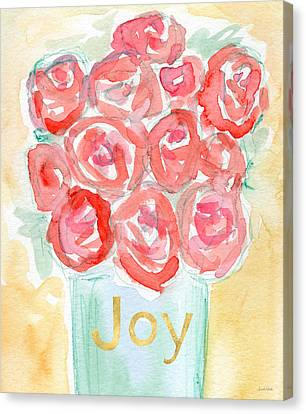 Joyful Roses- Art By Linda Woods Canvas Print by Linda Woods