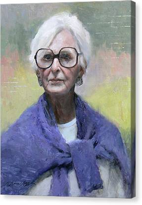 Judy In Blue Canvas Print by Anna Rose Bain