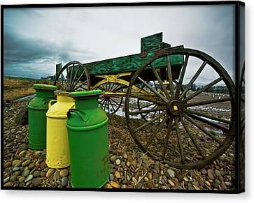 Jugs And Wagon Canvas Print by Dale Stillman
