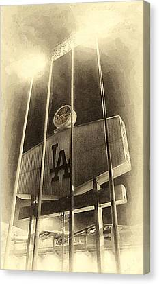 Jumbo Tron At Dodger Stadium Canvas Print by Ron Regalado