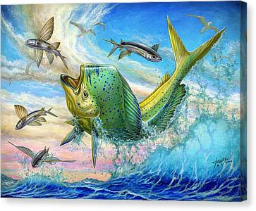 Jumping Mahi Mahi And Flyingfish Canvas Print by Terry Fox