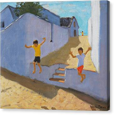 Jumping Off A Wall Canvas Print by Andrew Macara