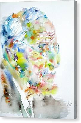 Jung - Watercolor Portrait.4 Canvas Print by Fabrizio Cassetta