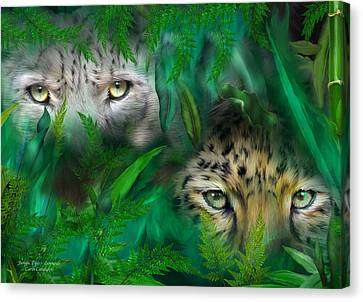 Jungle Eyes - Leopards Canvas Print by Carol Cavalaris