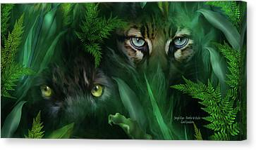 Jungle Eyes - Panther And Ocelot  Canvas Print by Carol Cavalaris