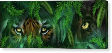 Jungle Eyes - Tiger And Panther Canvas Print by Carol Cavalaris