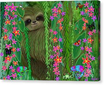 Jungle Sloth Canvas Print by Nick Gustafson