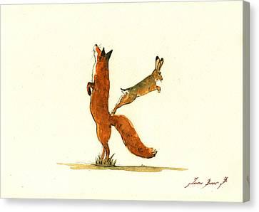 K Letter Woodland Alphabet Canvas Print by Juan  Bosco