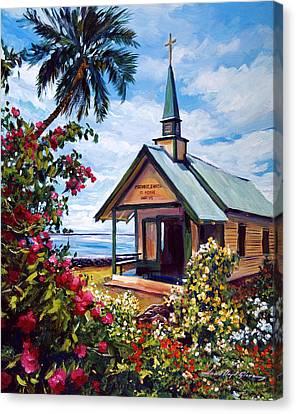 kahaalu Church Hawaii Canvas Print by David Lloyd Glover