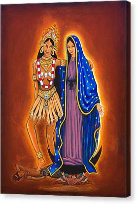 Kali And The Virgin Canvas Print by James Roderick