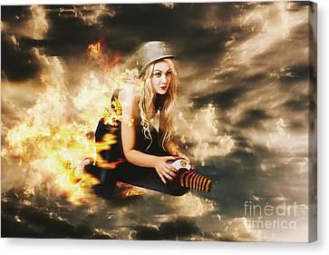 Kamakazi Pin-up Girl On Atomic Bomb Canvas Print by Jorgo Photography - Wall Art Gallery
