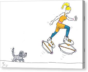 Kangoo Jumps Bouncy Shoes Walking The Dog Keep Fit Cartoon Canvas Print by Mike Jory