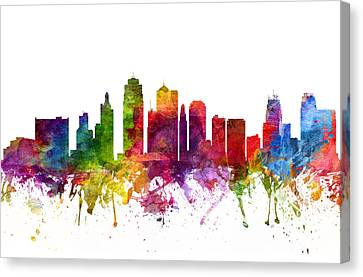 Kansas City Cityscape 06 Canvas Print by Aged Pixel