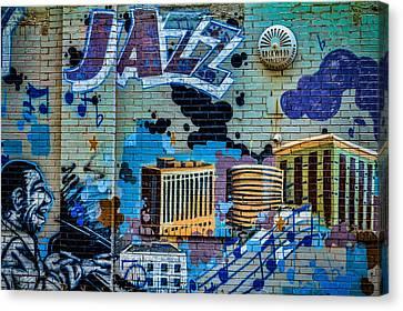 Kansas City Jazz Mural Canvas Print by Steven Bateson