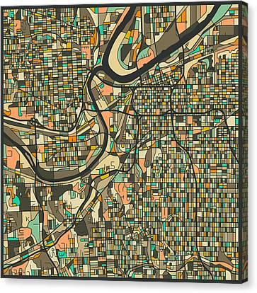 Kansas City Map 2 Canvas Print by Jazzberry Blue