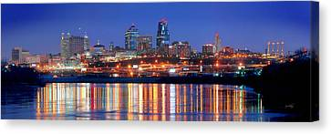 Kansas City Missouri Skyline At Night Canvas Print by Jon Holiday