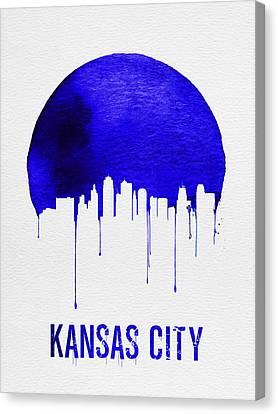 Kansas City Skyline Blue Canvas Print by Naxart Studio