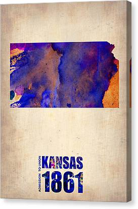 Kansas Watercolor Map Canvas Print by Naxart Studio