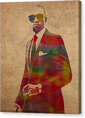 Kanye West Watercolor Portrait Canvas Print by Design Turnpike