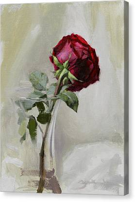 Romance Canvas Print featuring the painting Big Rose by Ben Hubbard