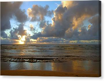 Kauai Sunrise Reflections Canvas Print by Stephen  Vecchiotti