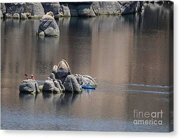 Kayaking On The Lake Canvas Print by Anne Rodkin