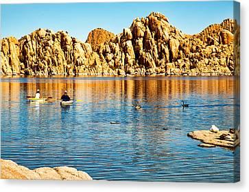 Kayaking On Watson Lake In Prescott Arizona Canvas Print by Susan Schmitz