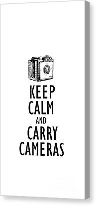 Keep Calm And Carry Cameras Phone Case Canvas Print by Edward Fielding
