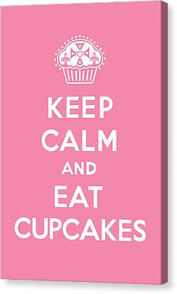 Keep Calm And Eat Cupcakes - Pink Canvas Print by Andi Bird