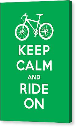 Keep Calm And Ride On - Mountain Bike - Green Canvas Print by Andi Bird