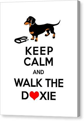 Keep Calm And Walk The Doxie Canvas Print by Antique Images