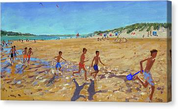 Keeping Fit, Wells Next To The Sea  Canvas Print by Andrew Macara