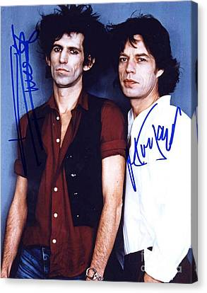 Keith And Mick Signed Canvas Print by Pd