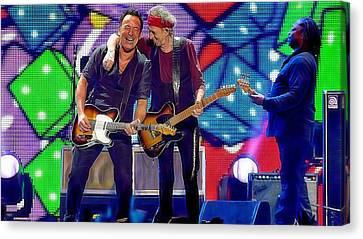 Keith Richards Bruce Springsteen Canvas Print by Marvin Blaine