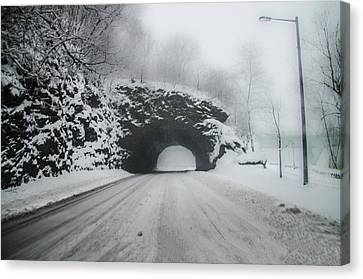 Kelly Drive Rock Tunnel In The Snow Canvas Print by Bill Cannon