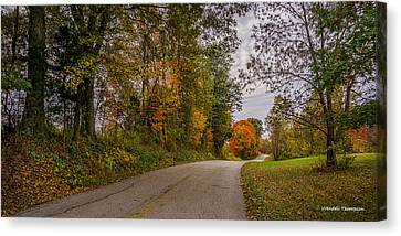 Kentucky County Lane In Fall Canvas Print by Wendell Thompson