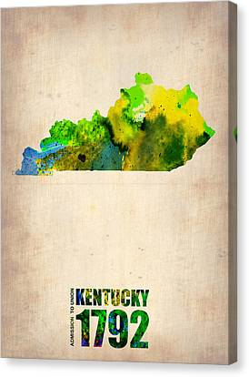 Kentucky Watercolor Map Canvas Print by Naxart Studio