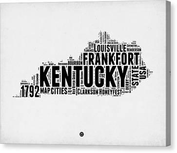 Kentucky Word Cloud Map 2 Canvas Print by Naxart Studio