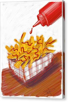 Ketchup And Fries Canvas Print by Russell Pierce
