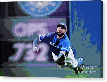 Kevin Pillar In Action Canvas Print by Nina Silver