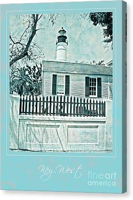 Key West Lighthouse Impression With Border Canvas Print by John Stephens
