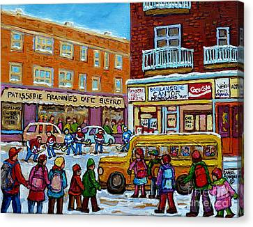 Kids Boarding Yellow School Bus Frannie's Cafe And Cantor's Monkland Street Hockey Canadian Art    Canvas Print by Carole Spandau
