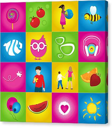 Kid's Education Preschool Poster Canvas Print by Serena King