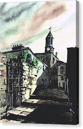 Kilkenny City  Clocktower Laneway  Canvas Print by Val Byrne