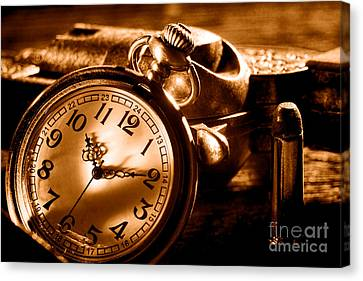 Killer Time - Sepia Canvas Print by Olivier Le Queinec