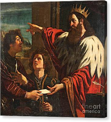King David Giving Uriah A Letter Canvas Print by MotionAge Designs