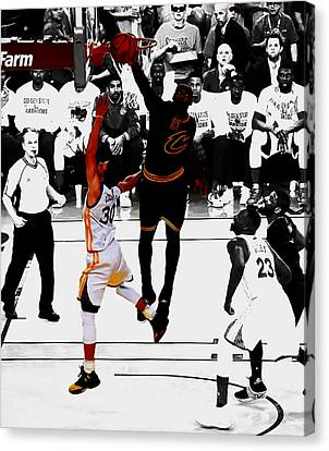 King James Blocks Steph Curry Canvas Print by Brian Reaves